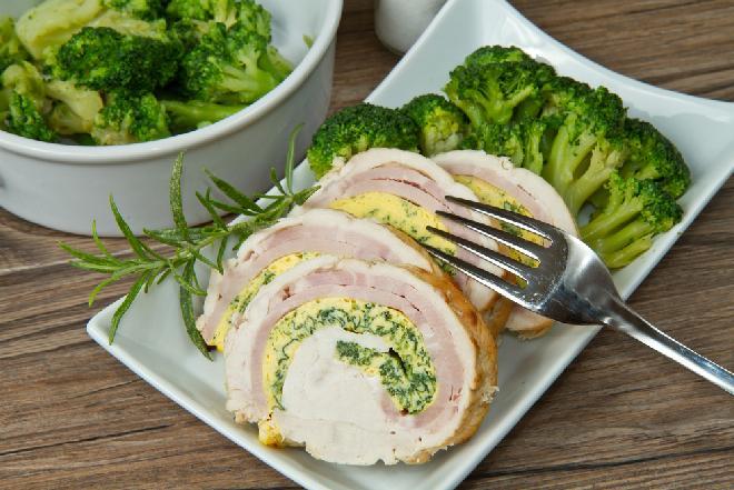 Nietuzinkowe roladki z piersi kurczaka z szynką i brokułami